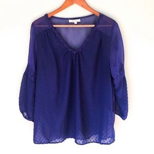 Umgee Navy Blue Balloon Sleeve Sheer Blouse Sz XL